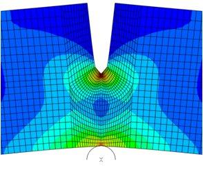 Finite element analysis of 3-point bend specimen